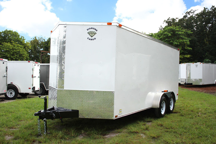 Diamond Cargo 7x16 Tandem Axle - Ramp Door